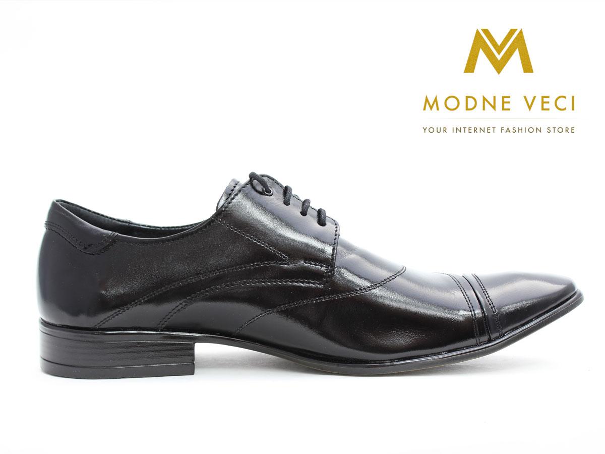 Pánske spoločenské kožené topánky čierne 135N - Obrázok č. 4