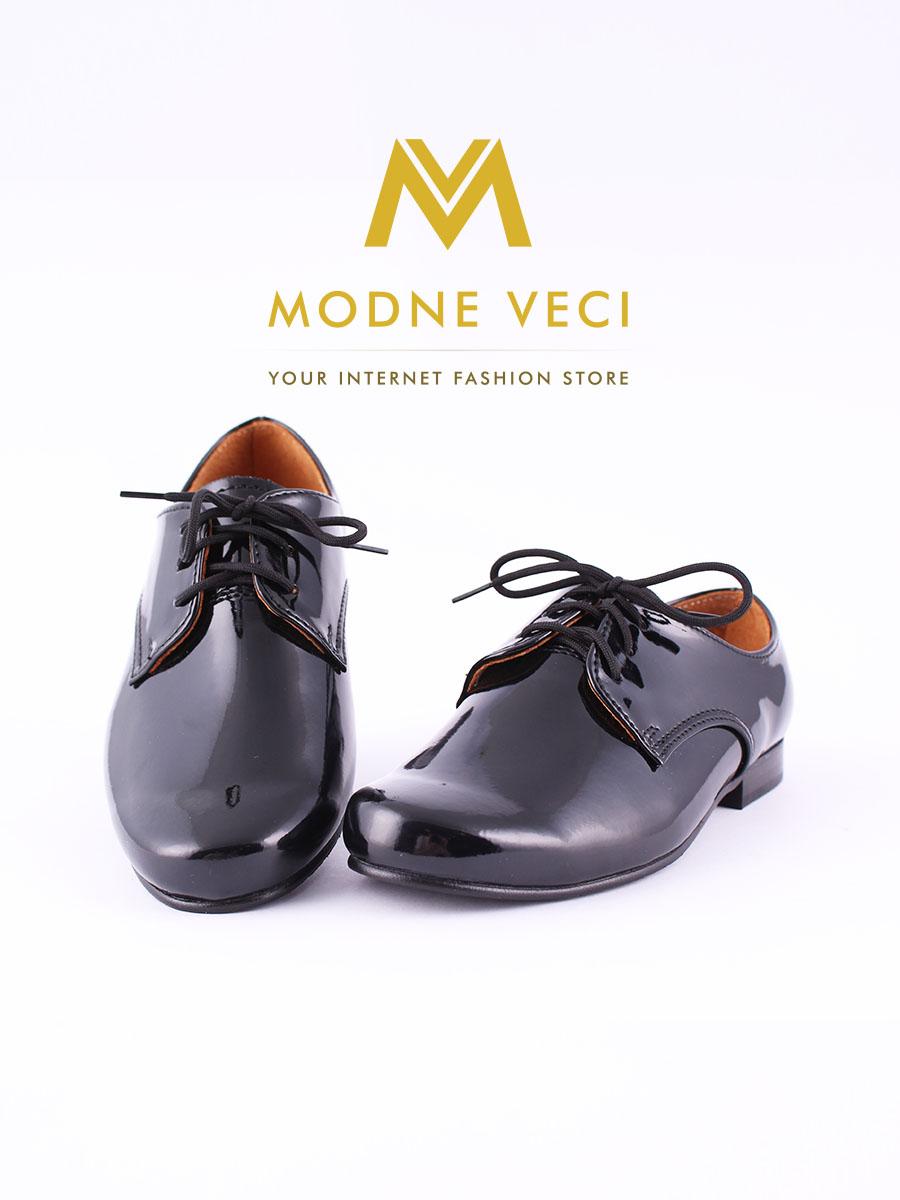 chlapčenske spoločenské čierne kožené topánky 21 - Obrázok č. 2