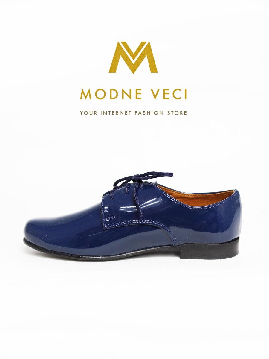 chlapčenske spoločenské modré kožené topánky 21 - Obrázok č. 1