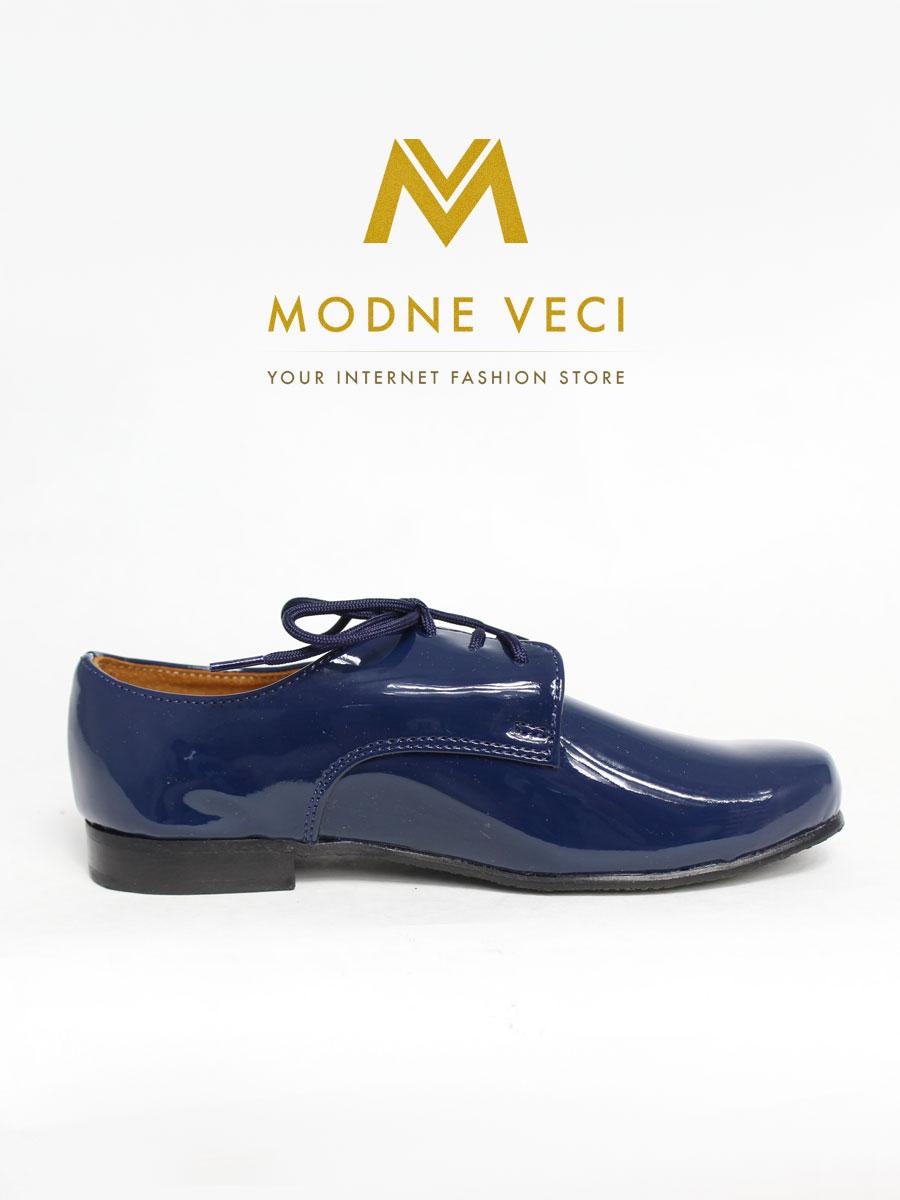 chlapčenske spoločenské modré kožené topánky 21 - Obrázok č. 2