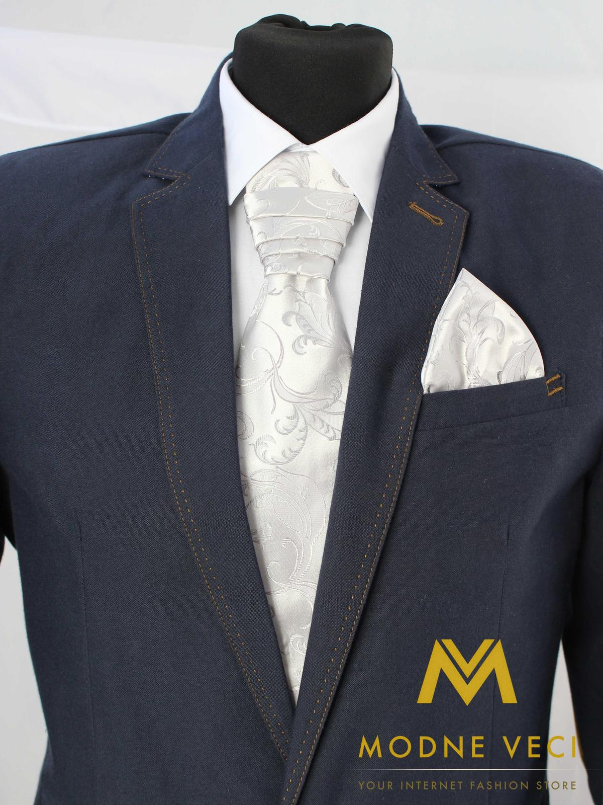 Francúzska kravata-strieborná ornament model 17 - Obrázok č. 1