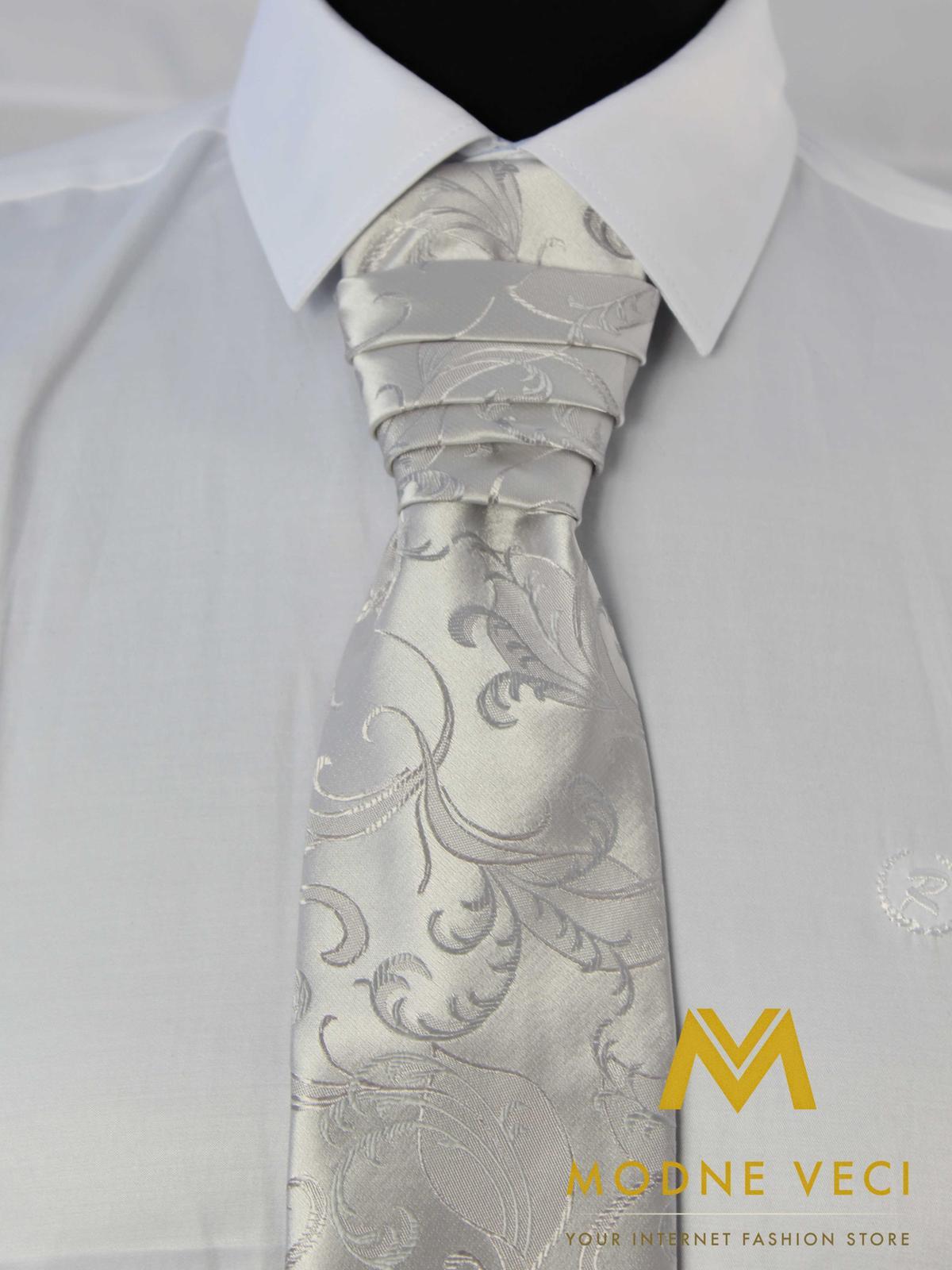 Francúzska kravata-strieborná ornament model 17 - Obrázok č. 3
