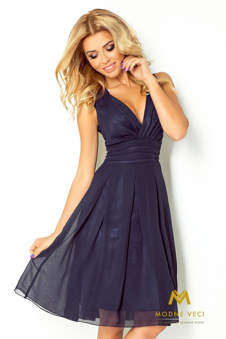 Večerné šifonové šaty 35-5 tmavo-modré - Obrázok č. 1