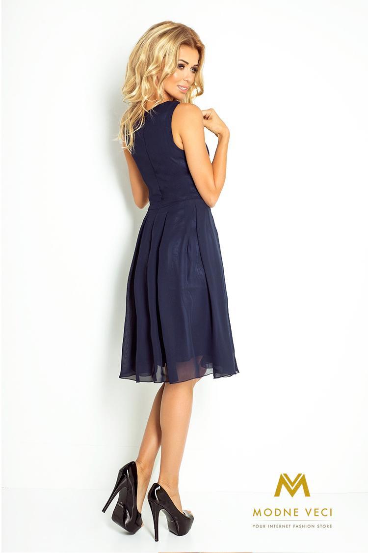 Večerné šifonové šaty 35-5 tmavo-modré - Obrázok č. 2