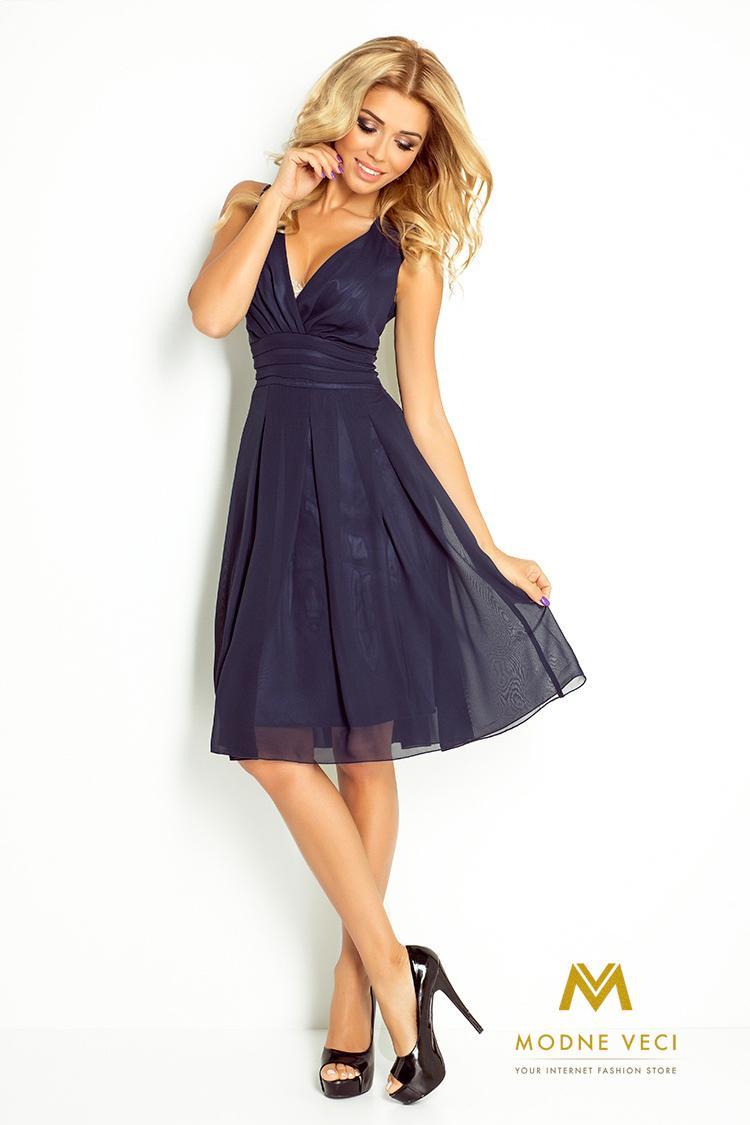 Večerné šifonové šaty 35-5 tmavo-modré - Obrázok č. 3