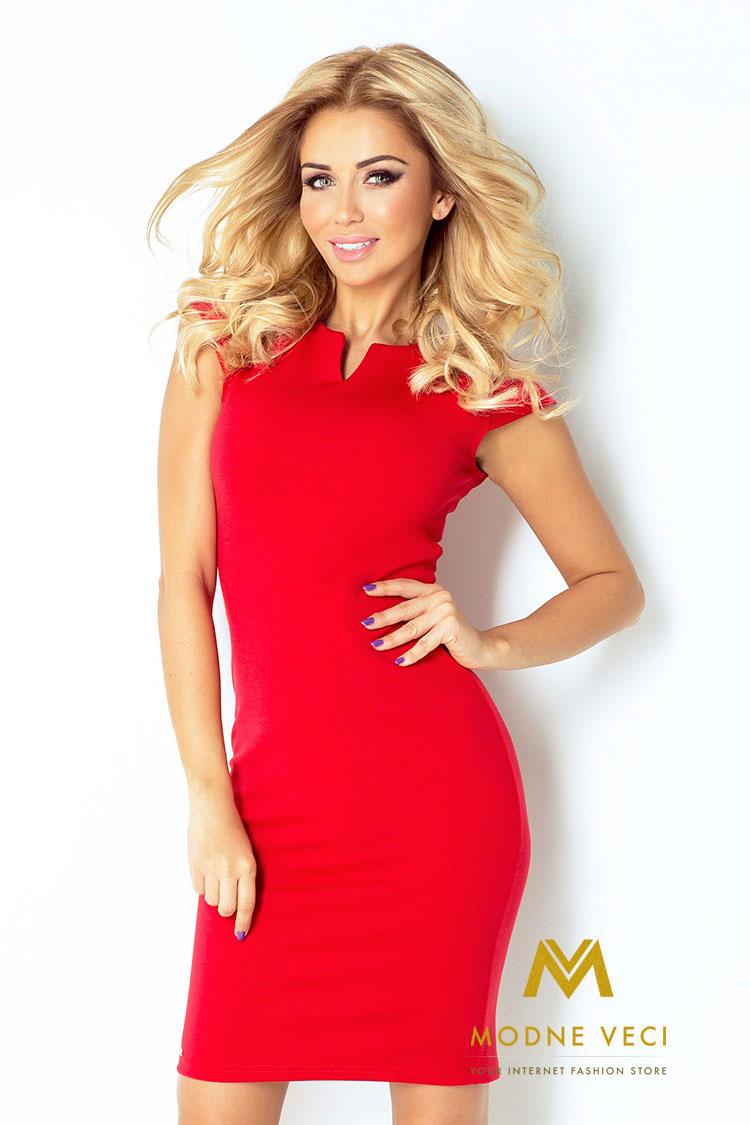 Červené puzdrové šaty 132-2 - Obrázok č. 1