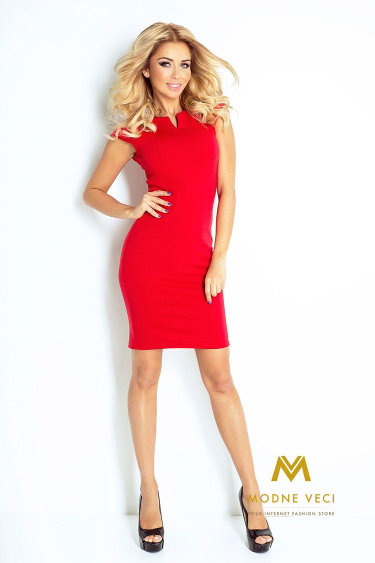 Červené puzdrové šaty 132-2 - Obrázok č. 2