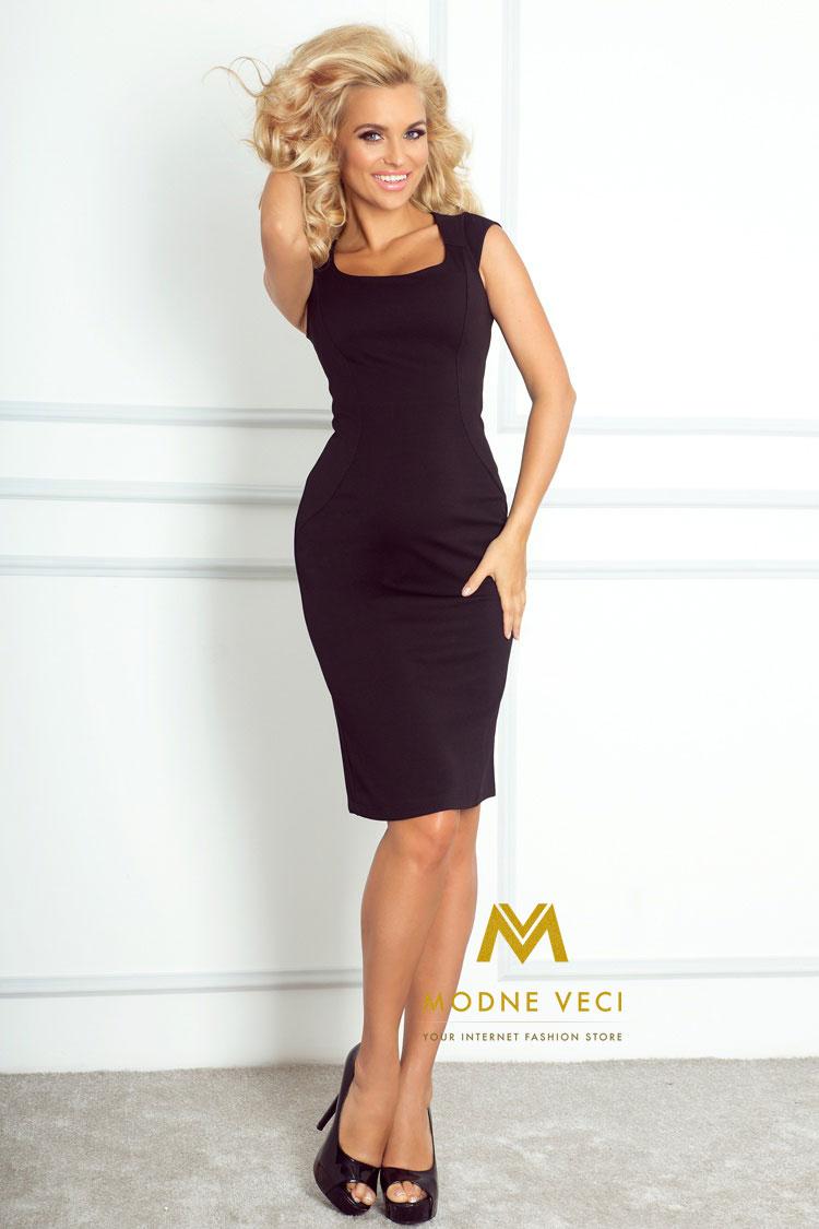 Elegantné čierne šaty 53-9A - Obrázok č. 2
