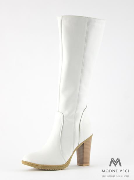 Elegantné kožené čižmy model 08 v bielej farbe 36 - Obrázok č. 1