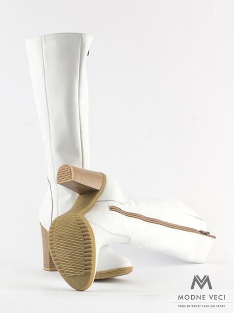 Elegantné kožené čižmy model 08 v bielej farbe 36 - Obrázok č. 3