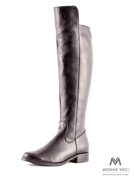 Vysoké čižmy nad kolená kožené Ema 04 čierne 36 - Obrázok č. 1