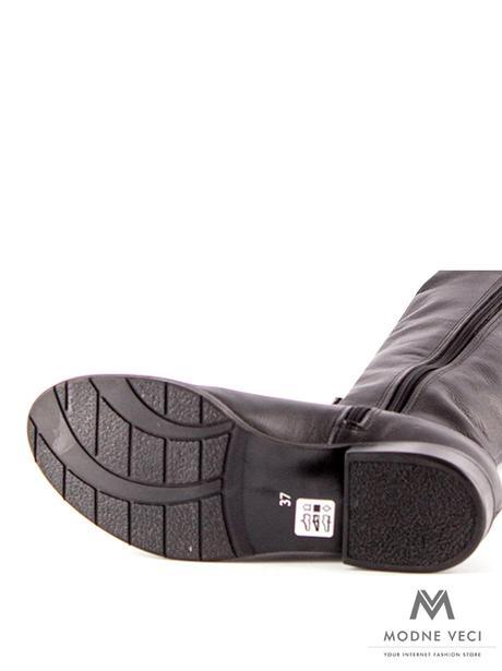 Vysoké čižmy nad kolená kožené Ema 04 čierne 36 - Obrázok č. 2