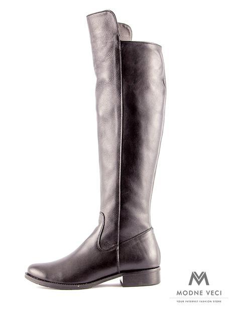 Vysoké čižmy nad kolená kožené Ema 04 čierne 36 - Obrázok č. 3