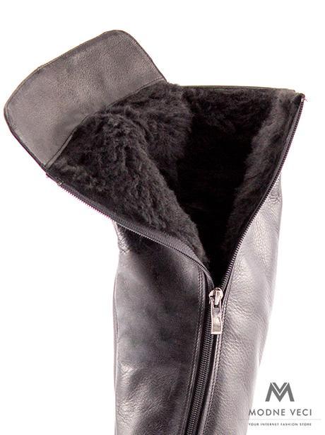 Vysoké čižmy nad kolená kožené Ema 04 čierne 36 - Obrázok č. 4