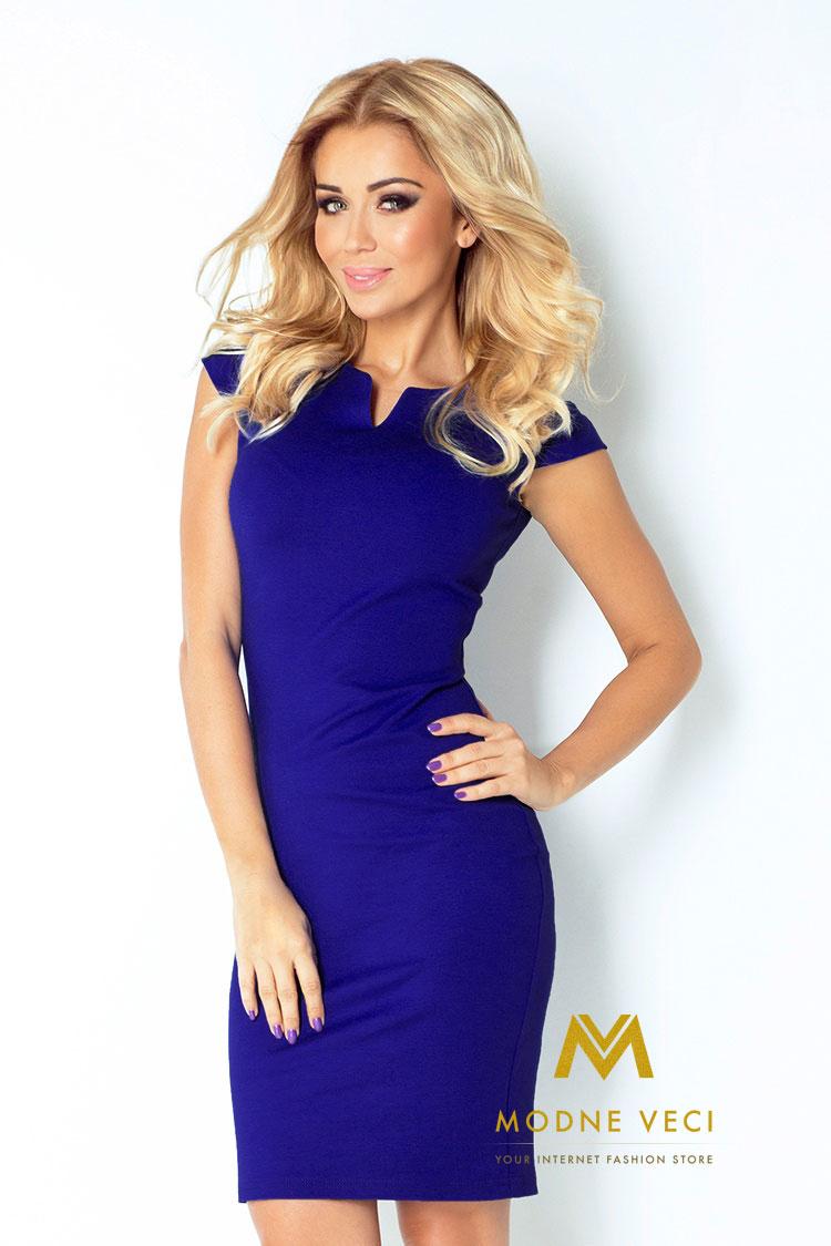 Kráľovsko modré puzdrové šaty 132-1 - Obrázok č. 1