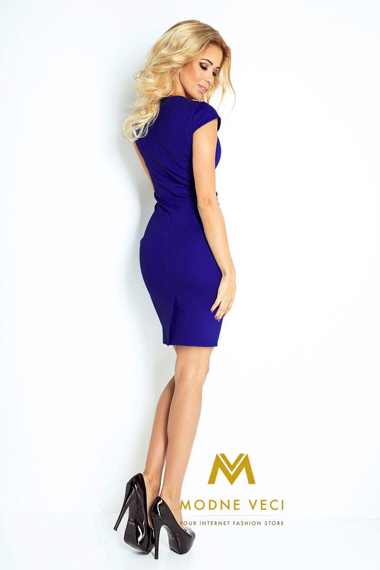 Kráľovsko modré puzdrové šaty 132-1 - Obrázok č. 2