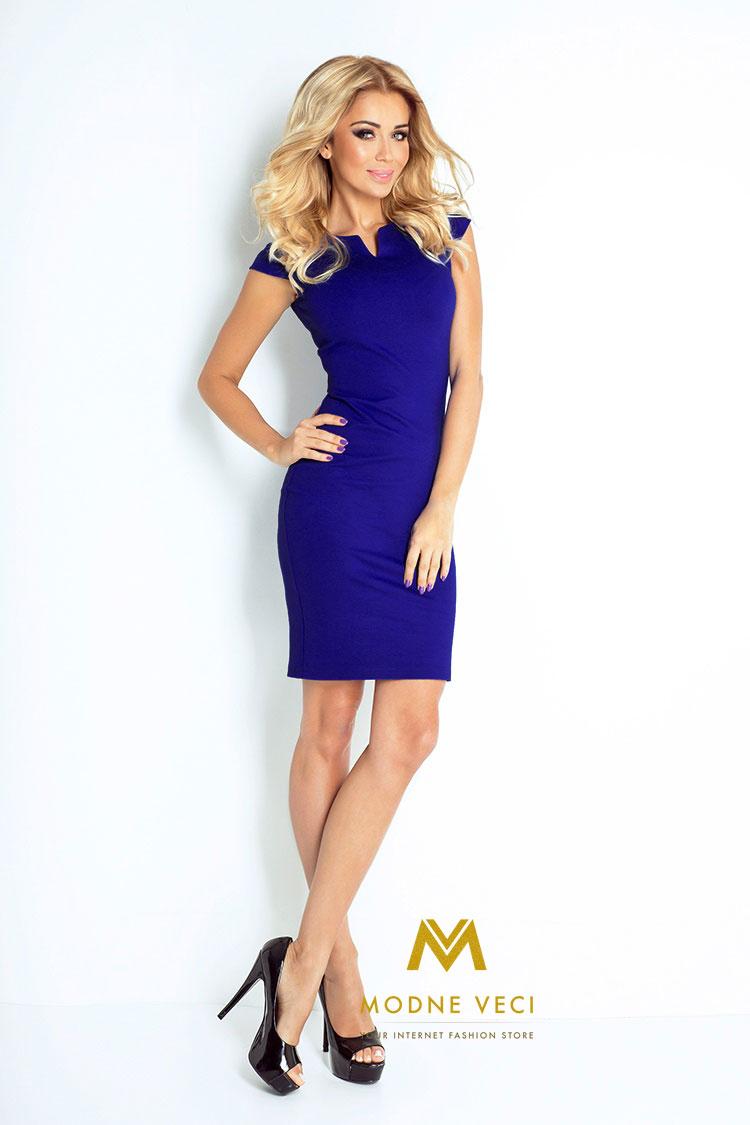 Kráľovsko modré puzdrové šaty 132-1 - Obrázok č. 3