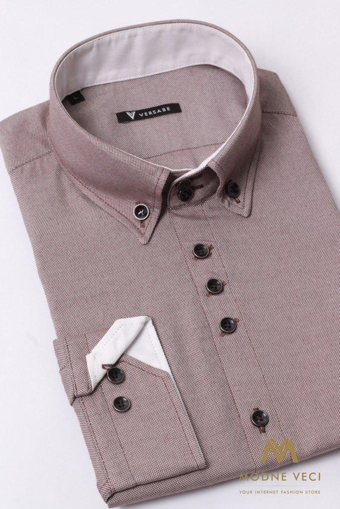 Pohodlná pánska hnedá košeľa VS 1736 - Obrázok č. 2
