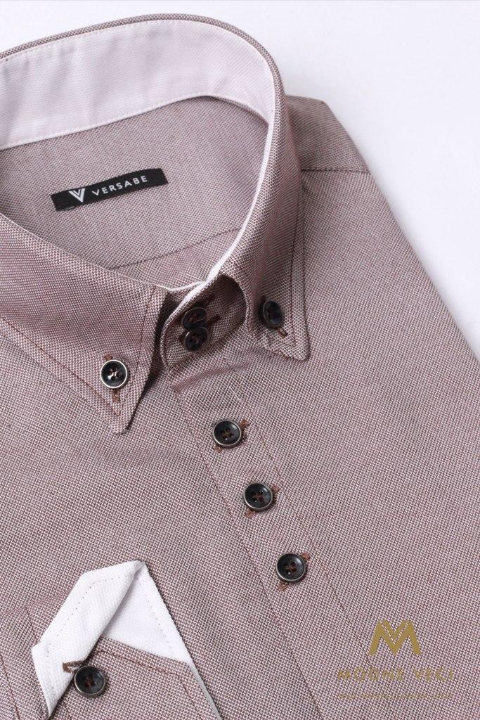 Pohodlná pánska hnedá košeľa VS 1736 - Obrázok č. 3