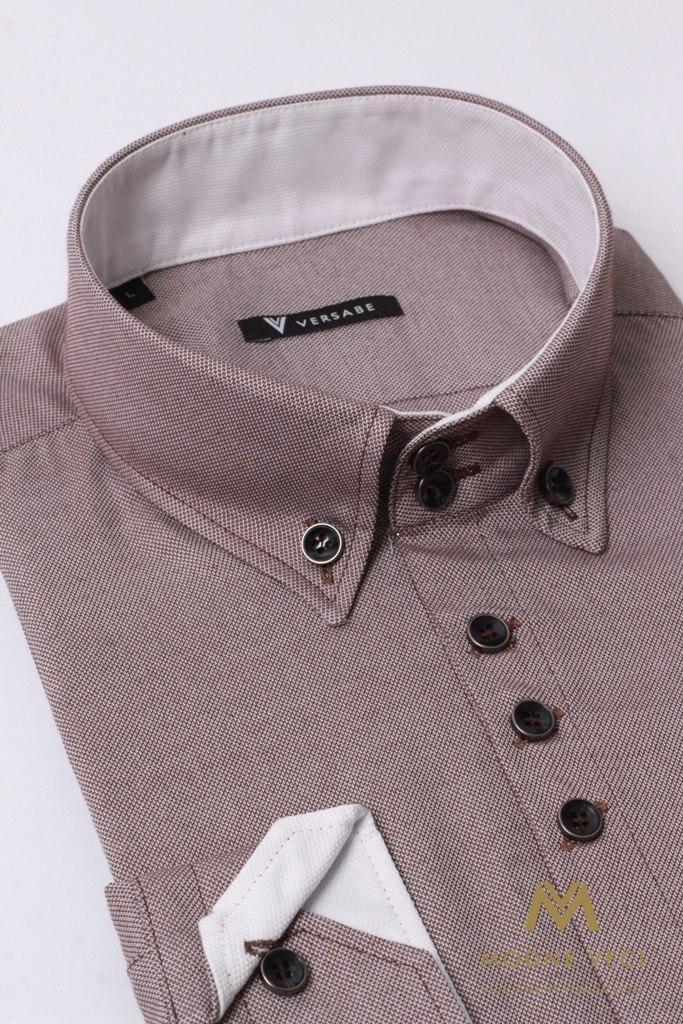 Pohodlná pánska hnedá košeľa VS 1736 - Obrázok č. 4