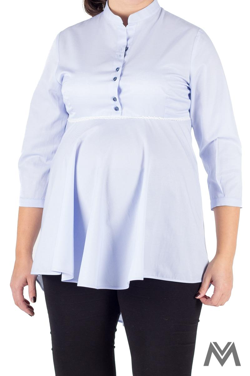 Pohodlná tehotenská košeľa svetlo modrá VS-1729T - Obrázok č. 4