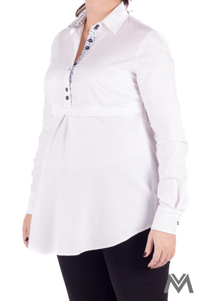 Módna tehotenská košeľa v bielej farbe VS1735T - Obrázok č. 2