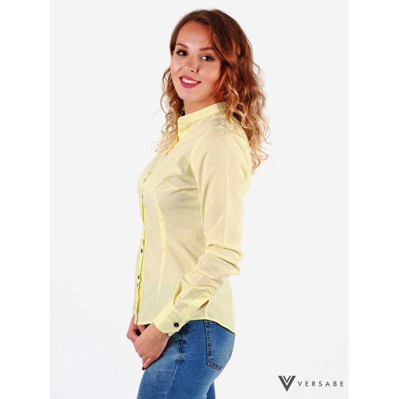 Bez-golierová košeľa  slim fit VS-DK 1733 v žltej  - Obrázok č. 1