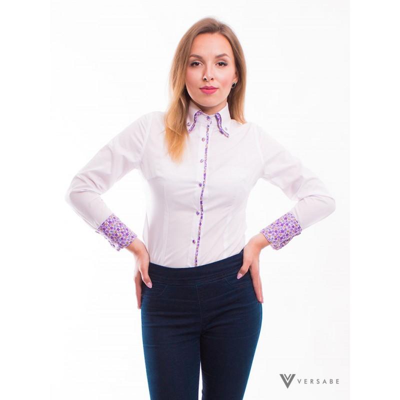Biela dámska košeľa, kvietkovaným golieromVSDK1611 - Obrázok č. 1