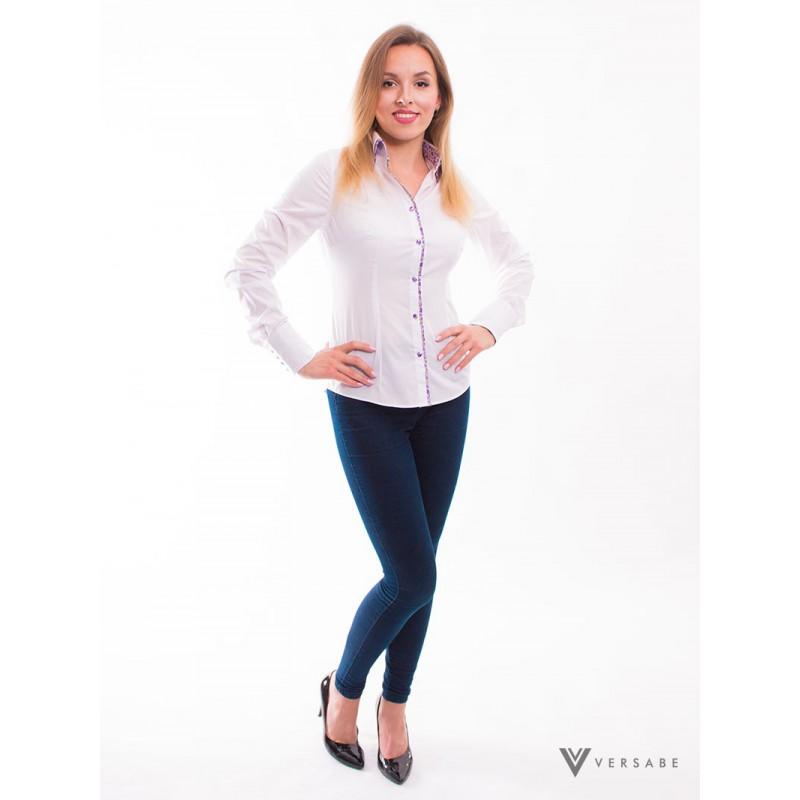 Biela dámska košeľa, kvietkovaným golieromVSDK1611 - Obrázok č. 2