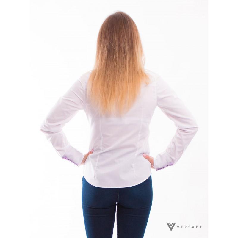 Biela dámska košeľa, kvietkovaným golieromVSDK1611 - Obrázok č. 3
