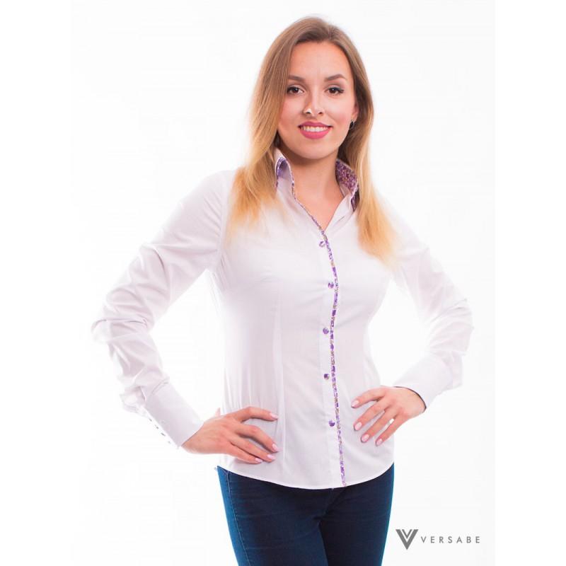 Biela dámska košeľa, kvietkovaným golieromVSDK1611 - Obrázok č. 4