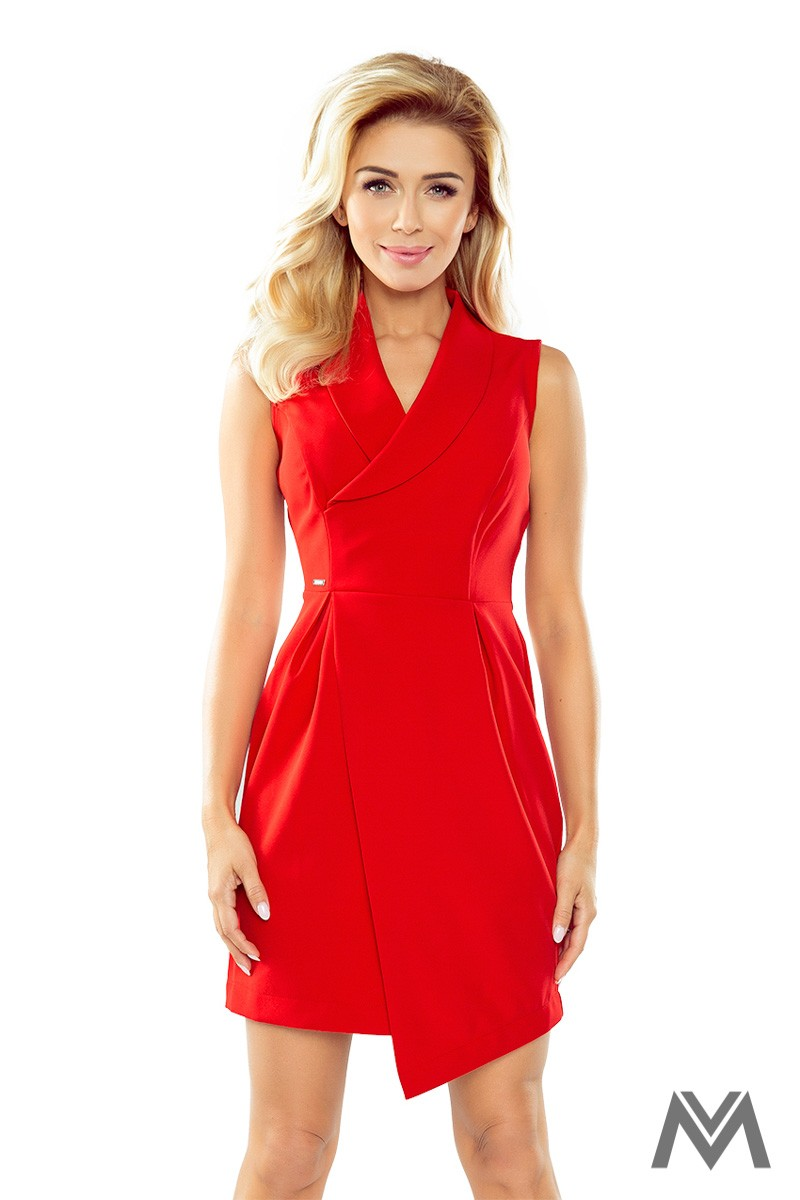 Elegantné dámske šaty so širokým golierom červené  - Obrázok č. 1