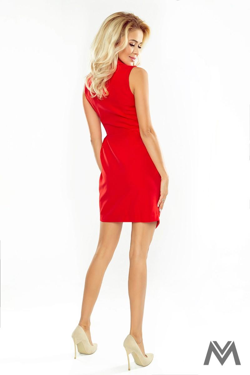Elegantné dámske šaty so širokým golierom červené  - Obrázok č. 2