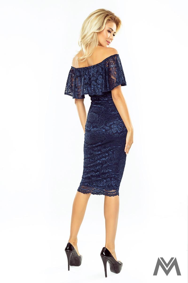 Čipkované tmavomodré šaty s volánom - Obrázok č. 2