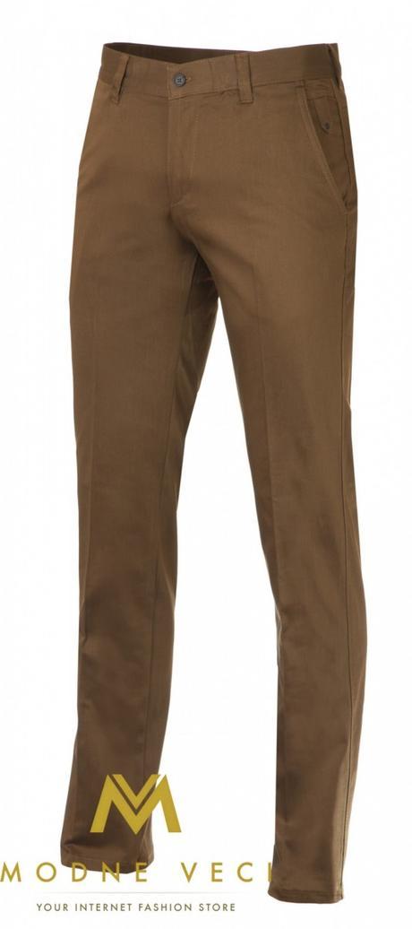 Slimkové pánske nohavice hnedé - Obrázok č. 1