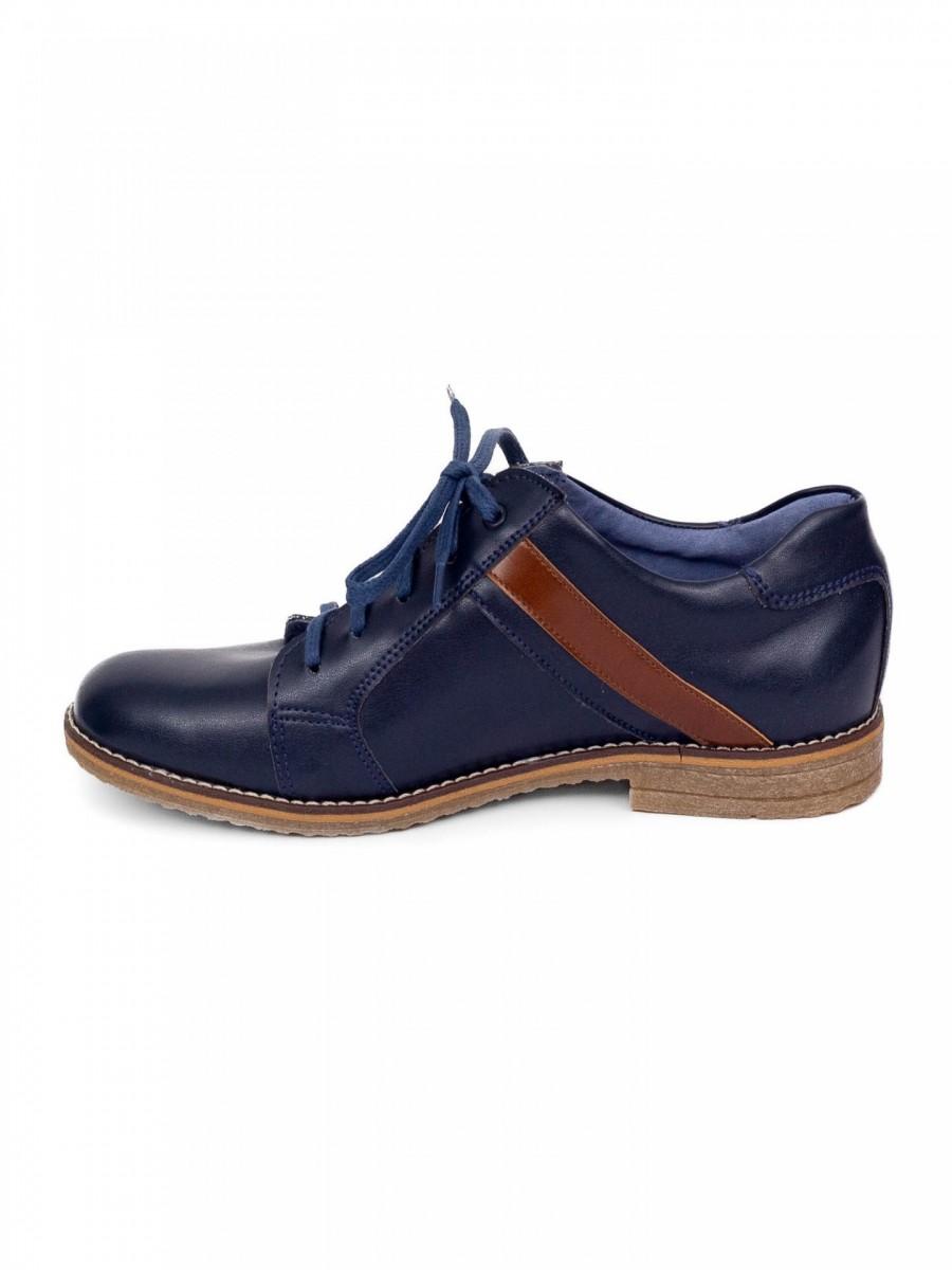 Chlapčenské detské kožené topánky 303 modré - Obrázok č. 2