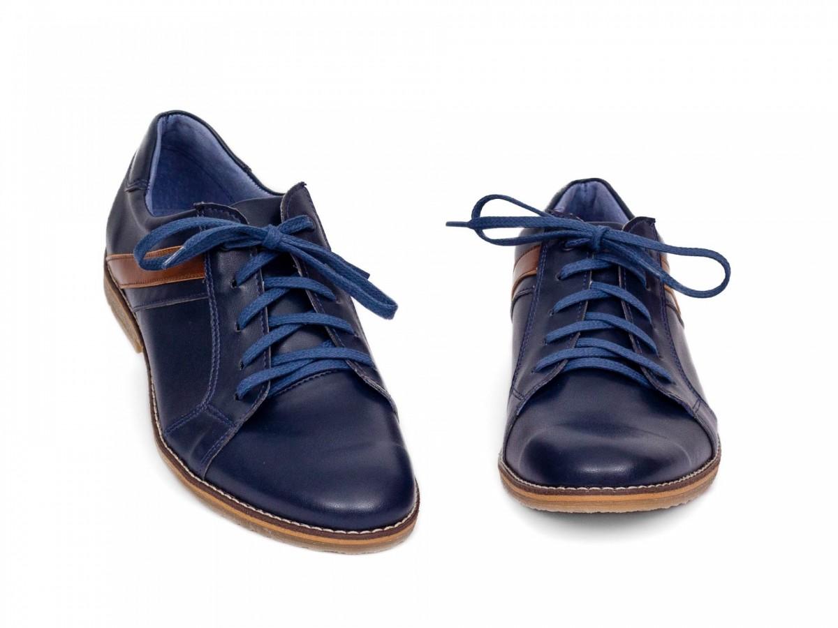 Chlapčenské detské kožené topánky 303 modré - Obrázok č. 3