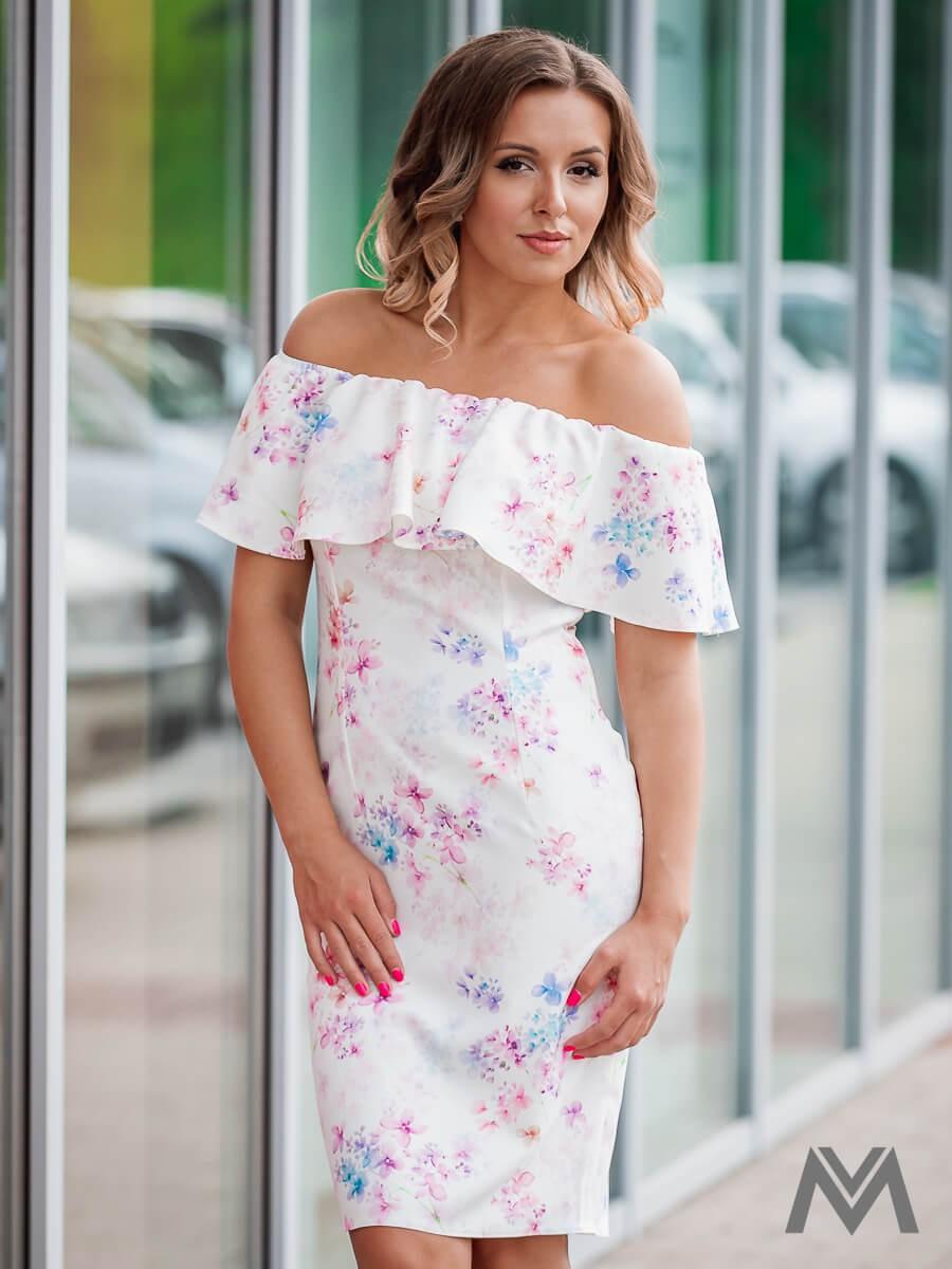 Dámske puzdrové šaty s volánom VS-SA 1860 kvetinov - Obrázok č. 1