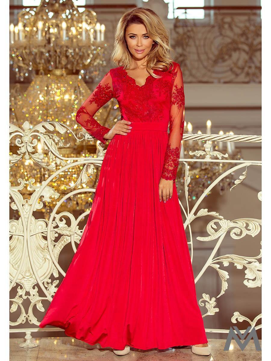 Dlhé dámske šaty s čipkou 213-3 červené - Obrázok č. 1