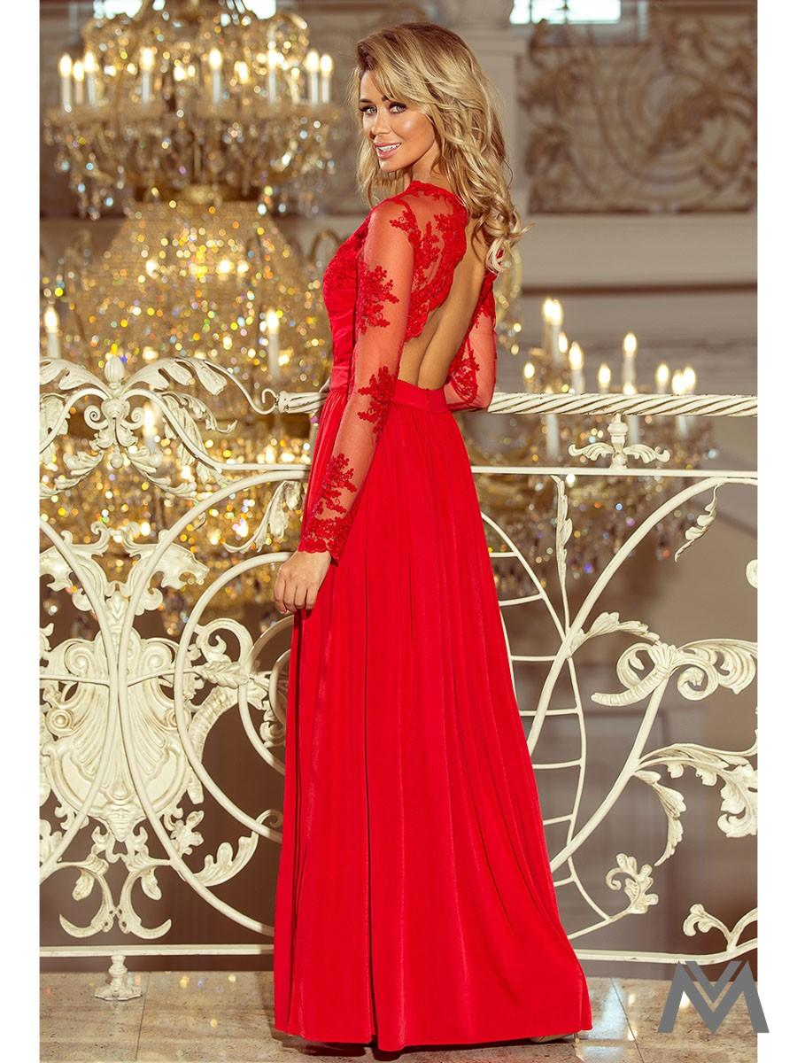 Dlhé dámske šaty s čipkou 213-3 červené - Obrázok č. 2