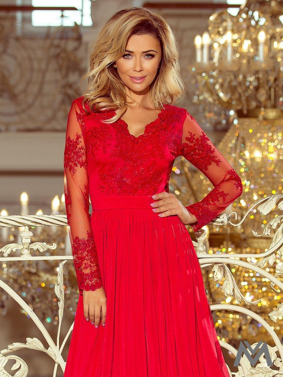 Dlhé dámske šaty s čipkou 213-3 červené - Obrázok č. 3