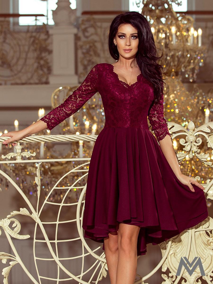 Elegantné dámske šaty 210-1 bordo - Obrázok č. 1
