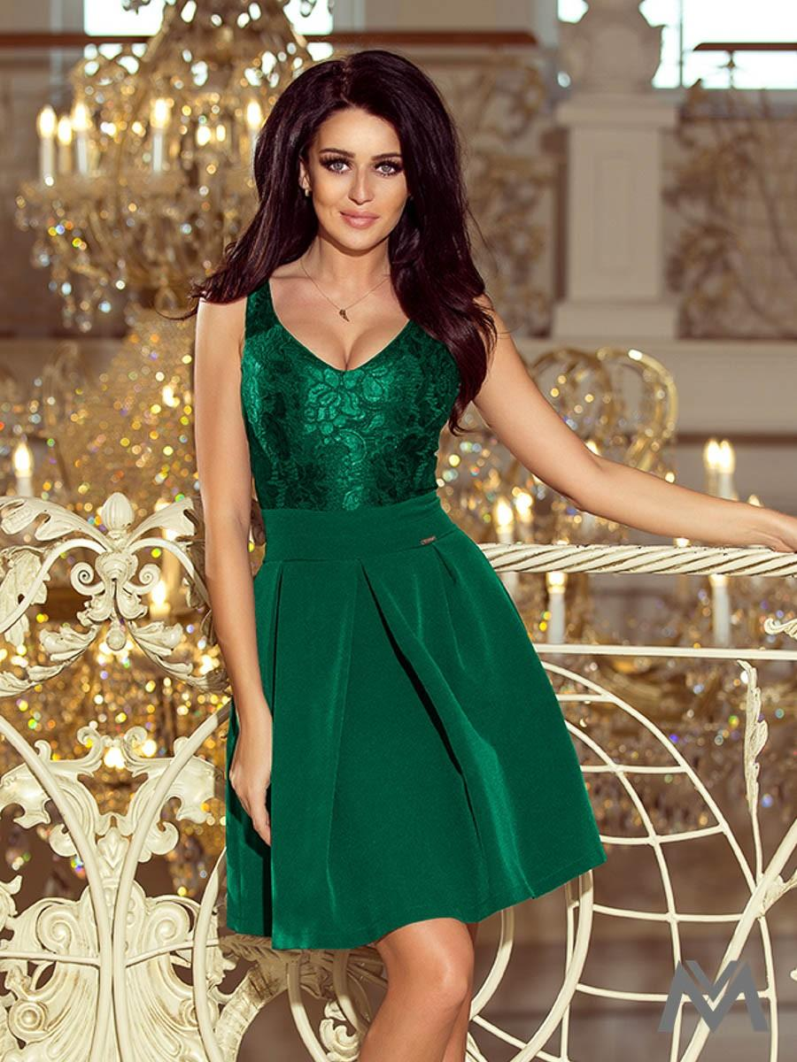 Elegantné dámske šaty 208-4 smaragdové - Obrázok č. 1