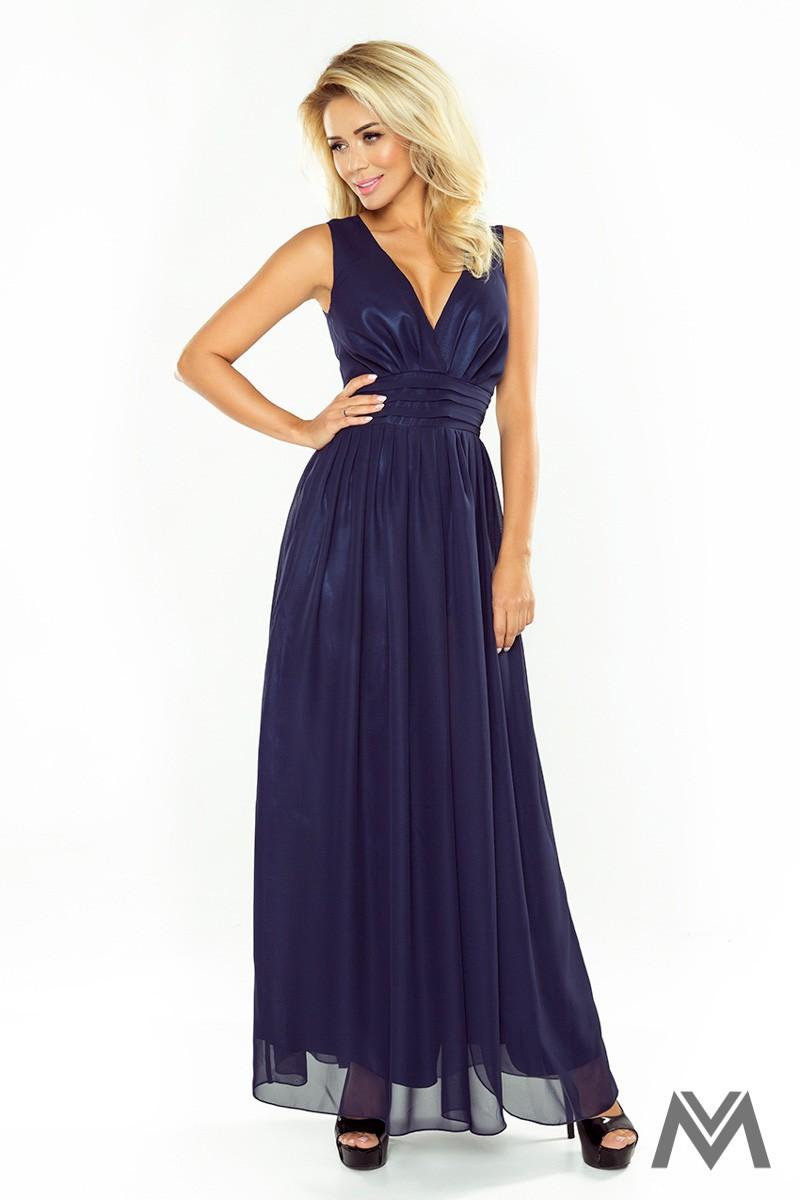 Dlhé večerné šaty v tmavomodrej farbe 166-1 - Obrázok č. 1