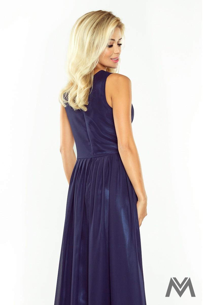 Dlhé večerné šaty v tmavomodrej farbe 166-1 - Obrázok č. 2
