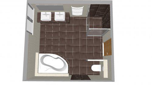 Hnízdečko - návrh horní koupelny
