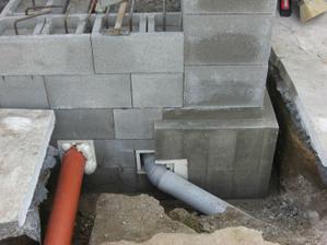 Podľad na prechod potrubia cez základ