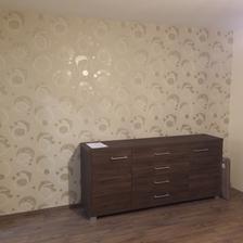 Prvý nábytok v spálni,,, a tapeta