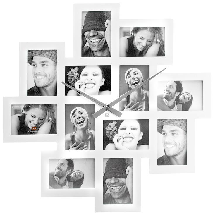 Hodiny 12 fotorámov biele Present Time 70cm - Obrázok č. 1