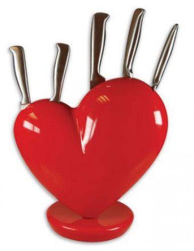Stojan na nože Srdce - červený - Obrázok č. 1